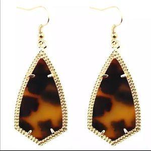 Leopard Geometric Gold Frame Dangle Earrings